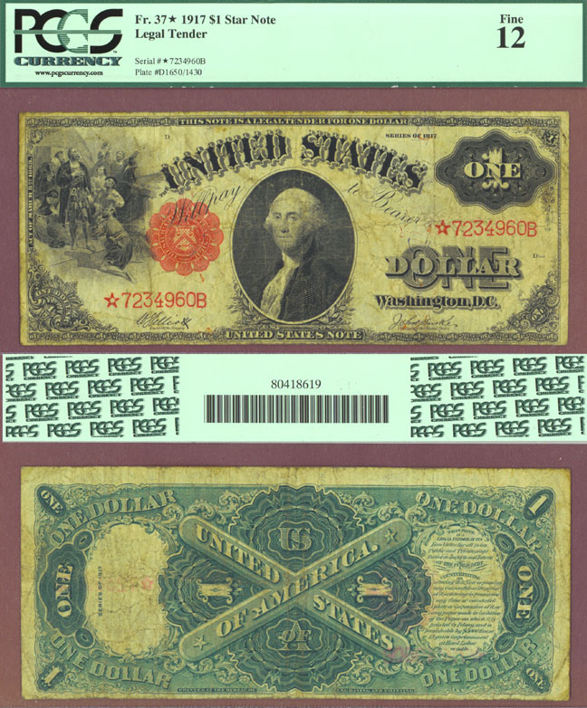 1917 $1.00 FR-37 Large Size US Legal Tender Star Note PCGS Fine 12