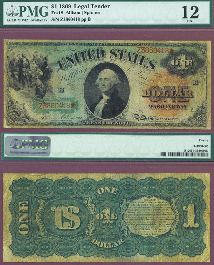 1869 $1.00 FR-18 Rainbow Note US Legal Tender Note PMG Fine 12