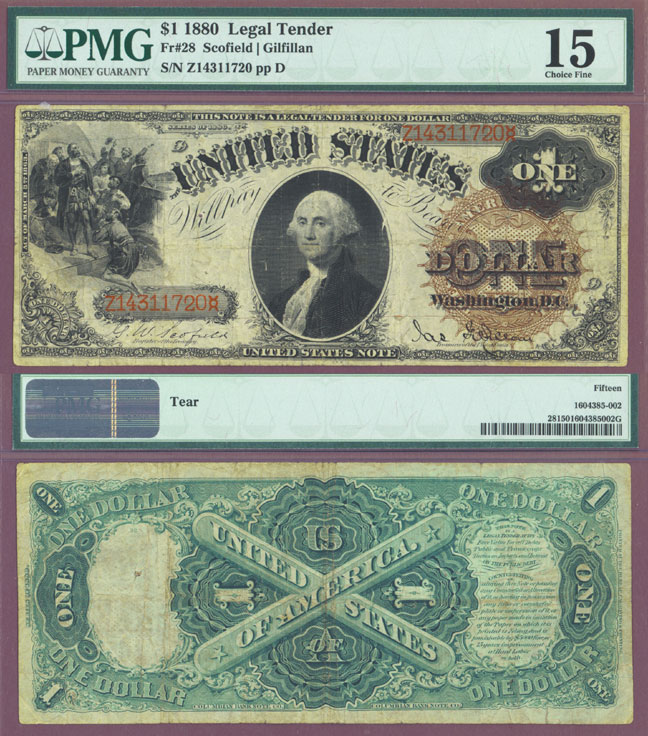 1880 $1.00 FR-28 US large size legal tender note