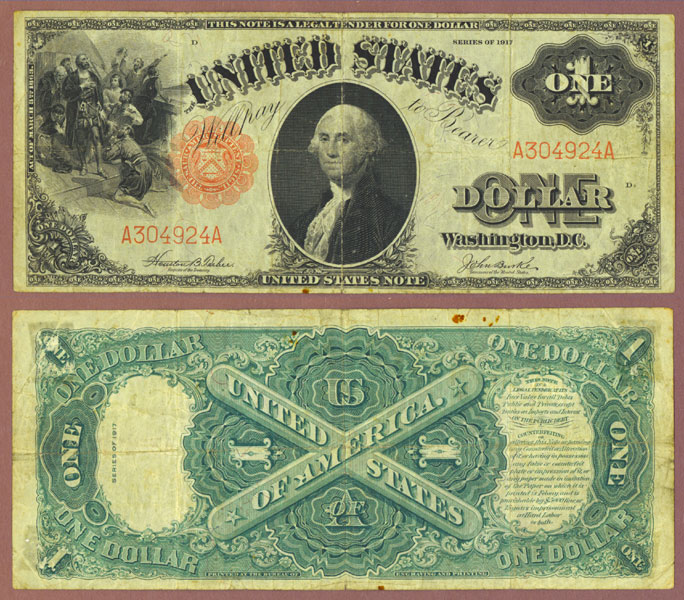 1917 $1.00 FR-36 US large size legal tender note red seal