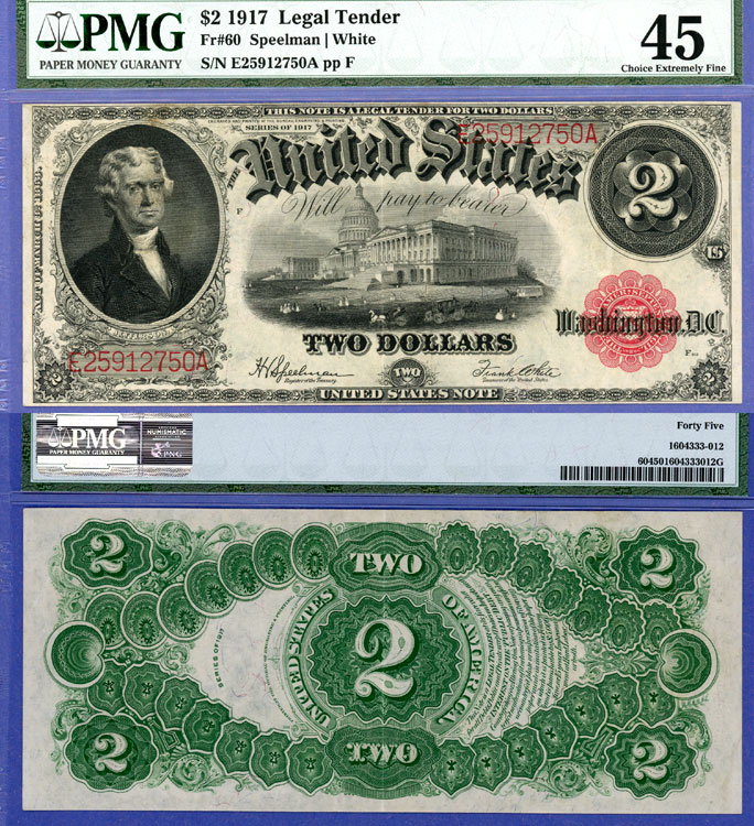 1917 $2.00 FR-60 US large size legal tender red seal note