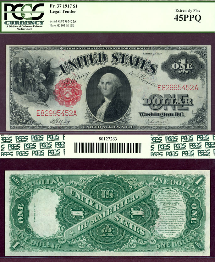 1917 $1.00 FR-37 US large size legal tender note PCGS Extremely Fine 45