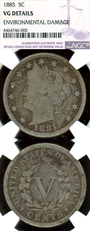 1885 5c US collectable liberty V nickle