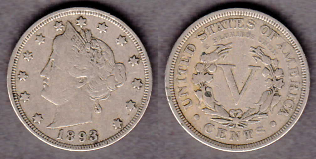 1893 5c US Liberty Head Nickel five cent piece