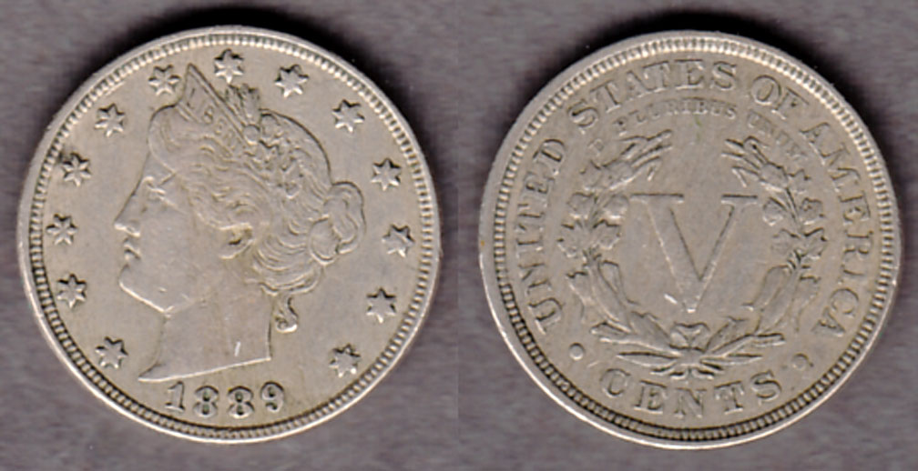 1889 5c US Liberty V nickel