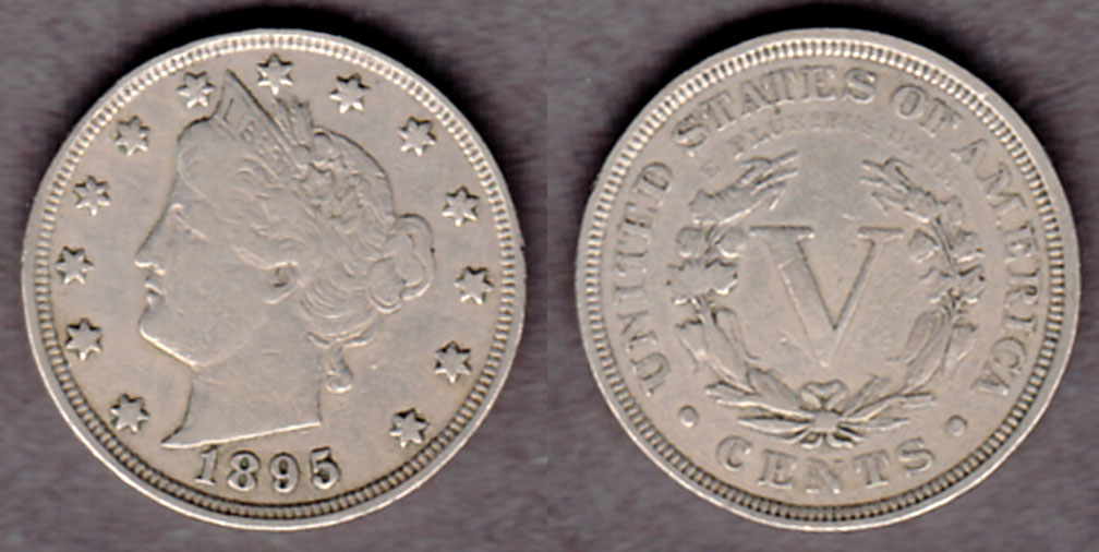 1895 5c US Liberty V nickel