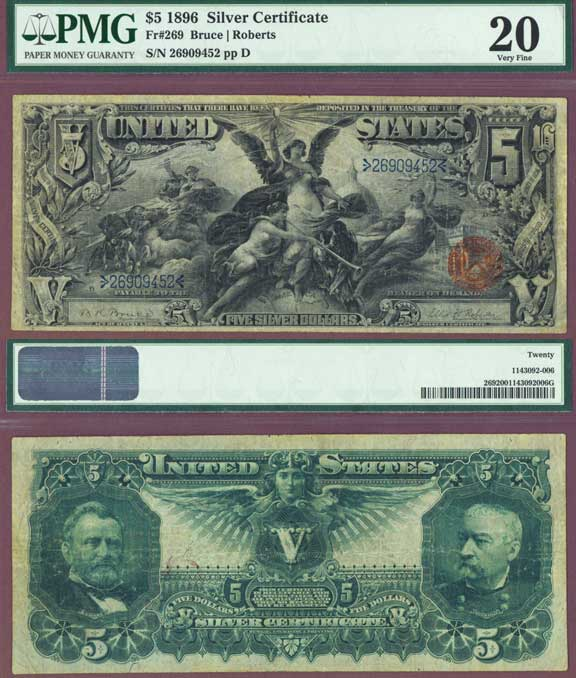 1896 $5.00 FR-269 US Large size Silver Certificate educational PMG Very Fine 20
