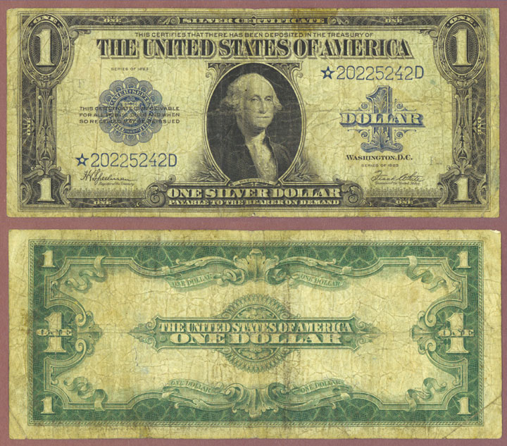 1923 $1.00 FR-237* STAR Note US large size silver certificate
