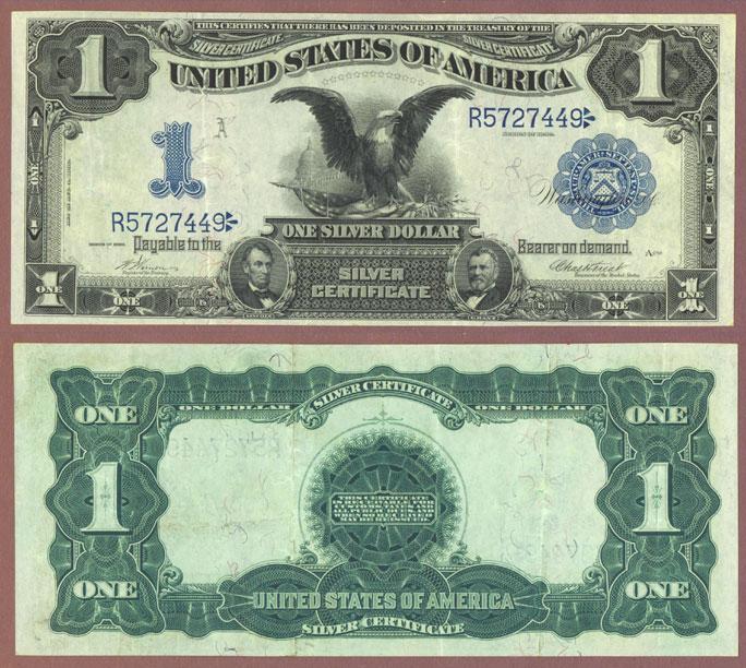 1899 $1.00 FR-228 Black Eagle Large US silver certificate