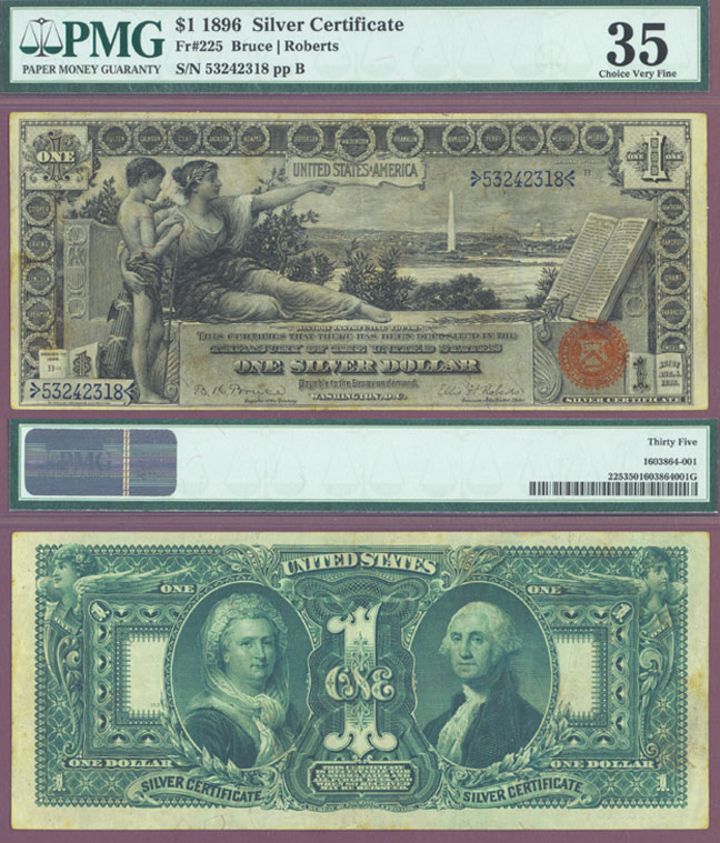 1896 $1.00 FR-225 Education series US large size silver certificate PMG Choice Very Fine 35