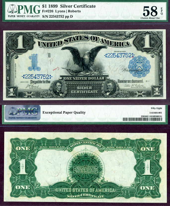 1899 $1.00 FR-226 US large size silver certificate