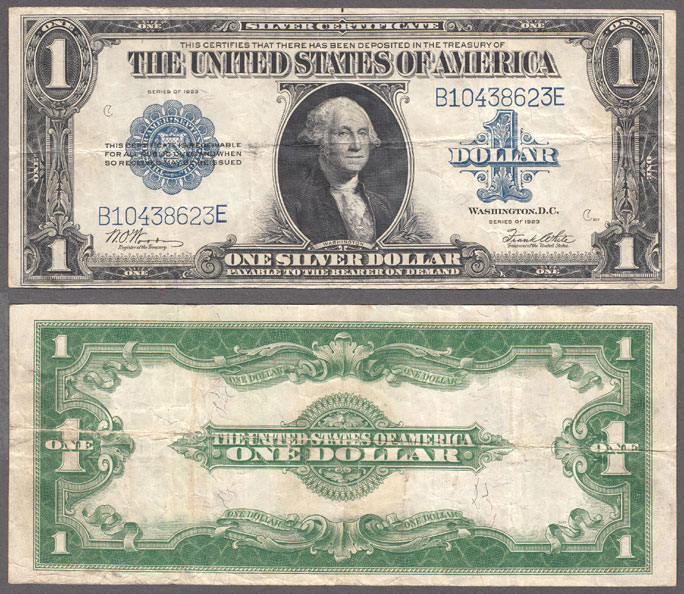 1923 $1.00 FR-238 US large size silver certificate