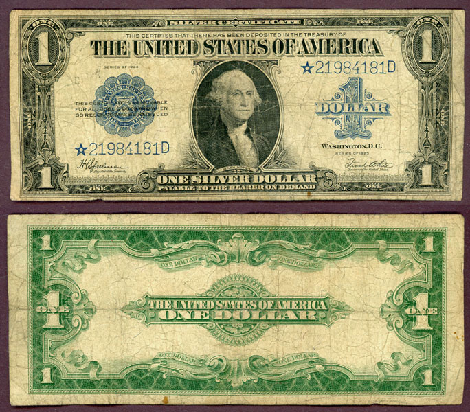"1923 $1.00 FR-237* ""STAR"" US large size silver certificate"