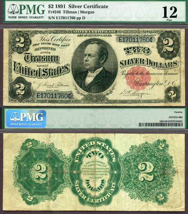 "1891 $2.00 FR-246 ""Windom"" US large size silver certificate PMG Fine 12"
