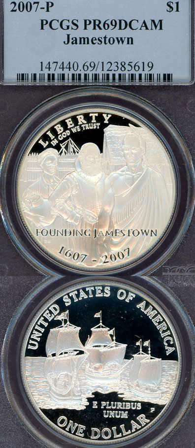 2007-P Jamestown $ PCGS PF-69 DCAM US modern silver commemerative coins