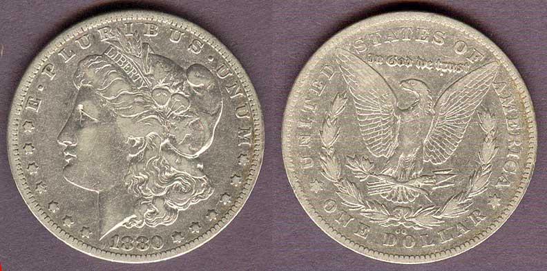 1880-CC - 80/79-CC Rev. of 78 $ US Morgan silver dollar