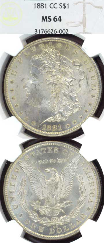 1881-CC $ MS-64 Vam-2 Carson City Mint Morgan Silver Dollar