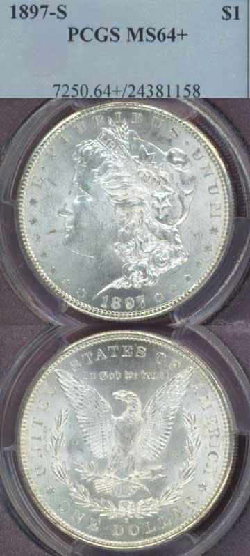 1897-S $ MS-64+ US Morgan silver dollar