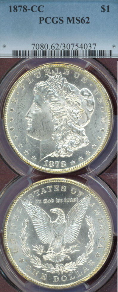 1878-CC $ PCGS MS62 First Year Carson City Mint Morgan silver dollar, old silver dollar