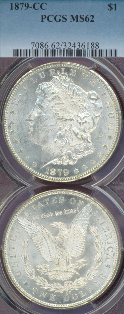 1879-CC $ Clear CC Carson City Mint silver dollar