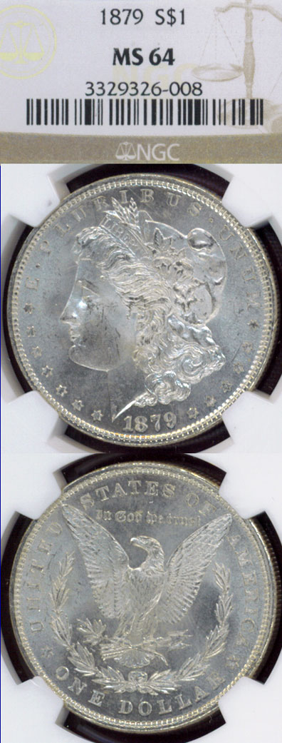 1879 $ US Morgan silver dollar PCGS MS-65