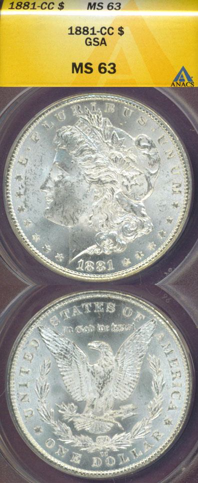 1881-CC $ US Morgan silver dollar ANACS MS-63