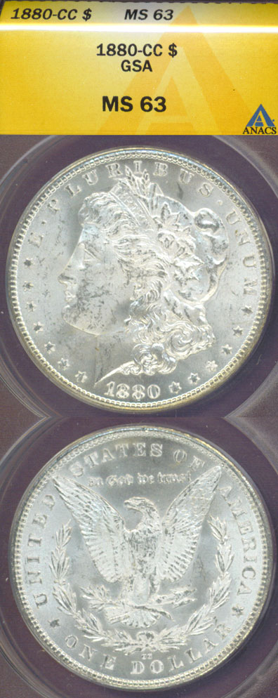 1880-CC $ US Morgan silver dollar ANACS MS-63