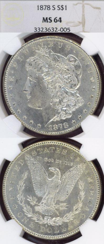 1878-S $ US Moirgan silver dollar NGC MS-64