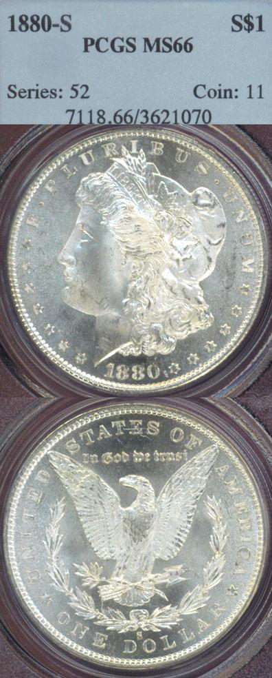 1880-S $ US Morgan silver dollar PCGS MS-66