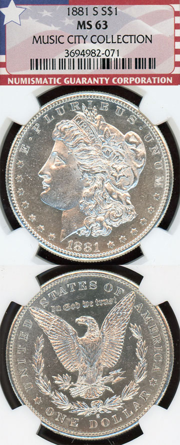 "1881-S $ US morgan silver dollar from the ""Music City Collection"" NGC MS 63"