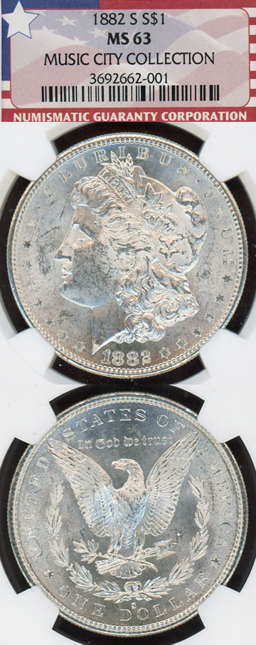 "1882-S $ US morgan silver dollar from the ""Music City Collection"" NGC MS 63"