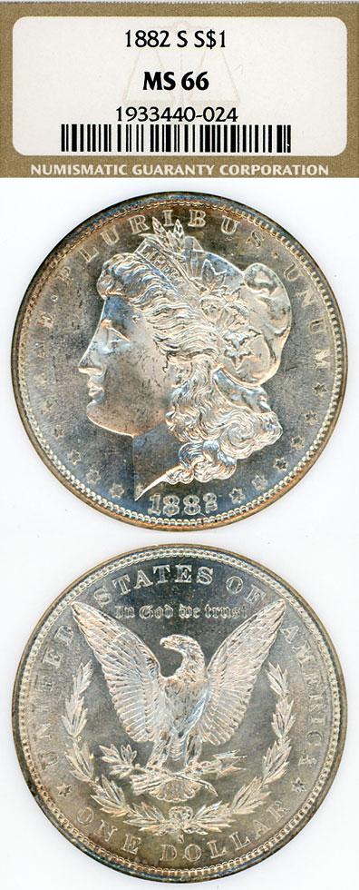 1882-S $ US Morgan silver dollar NGC MS-66
