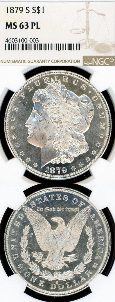 1879-S $ MS-63 Prooflike US Morgan silver dollar NGC MS 63 PL