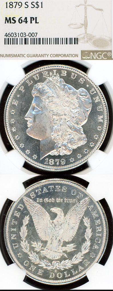 1879-S $ MS-64 Prooflike US Morgan silver dollar NGC MS 64 PL