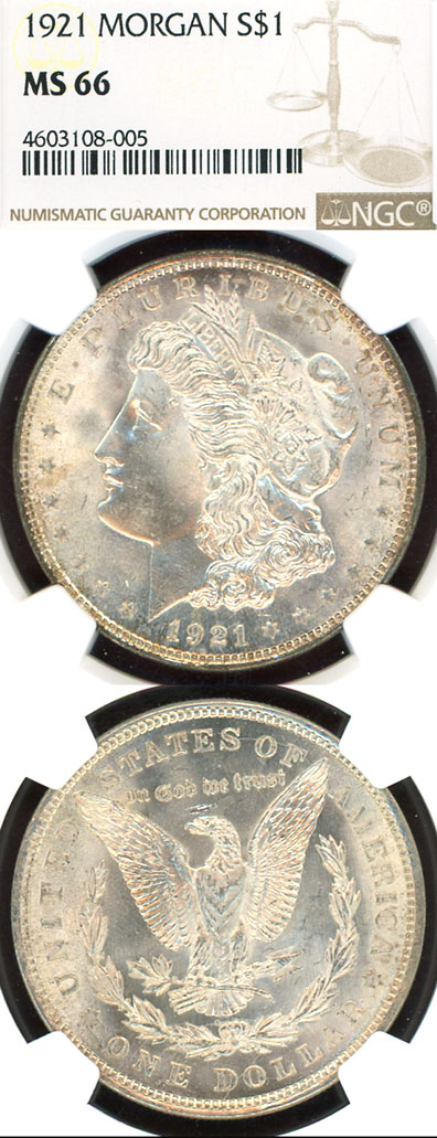 1921 $ US Morgan silver dollar NGC MS-66