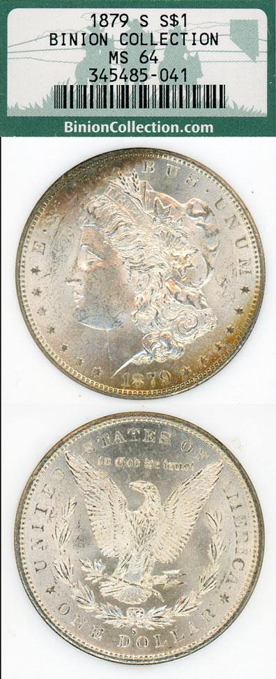1879-S $ Binion Collection US Morgan silver dollars NGC MS 65