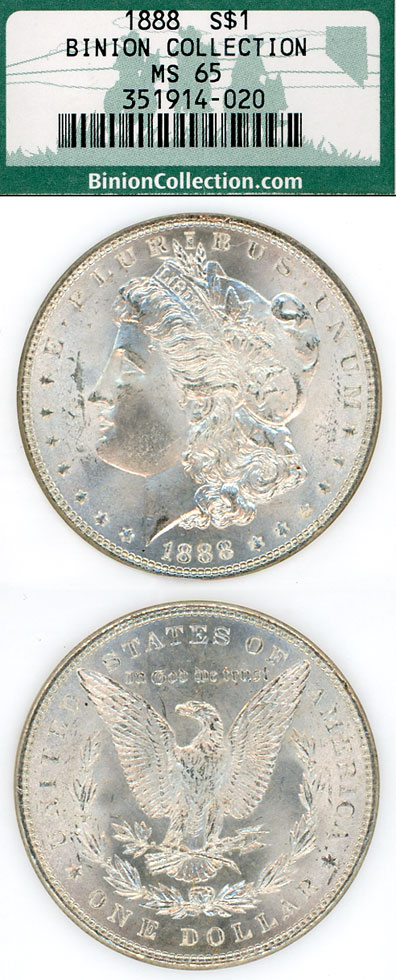 1888 $ Binion Collection US Morgan silver dollars NGC MS 65