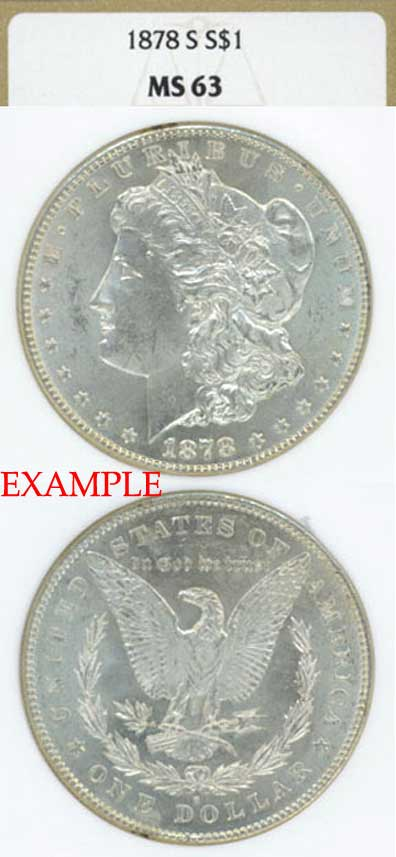 1878-S $  US Morgan silver dollar NGC MS-63