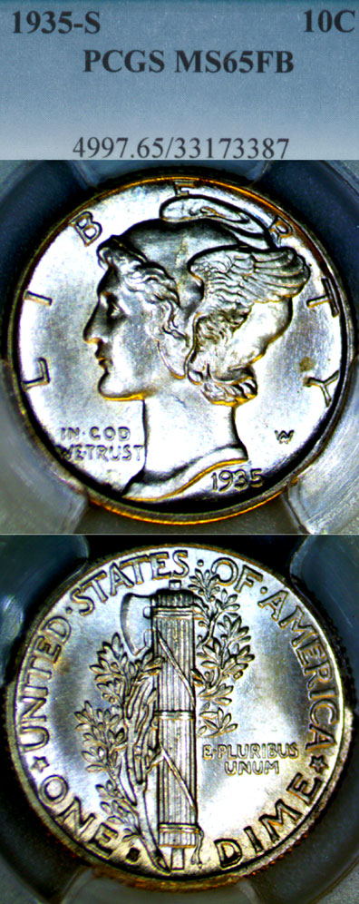 1935-S 10c US Mercury silver dime PCGS MS 65 Full Bands