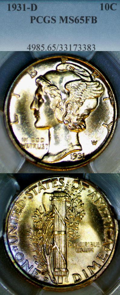 1931-D 10c US Mercury silver dime PCGS MS 65 Full Bands