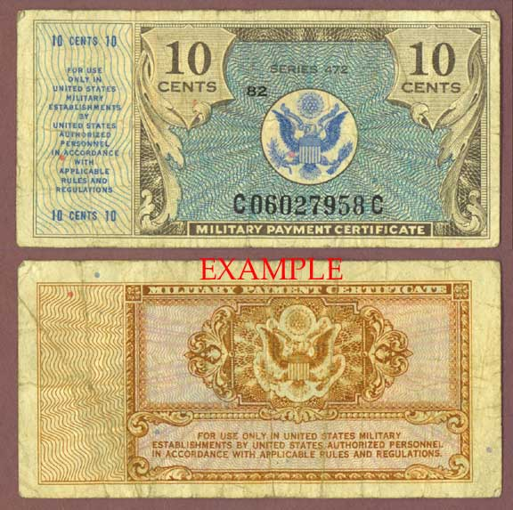 Series 472 10 Cent US military payment certifcate