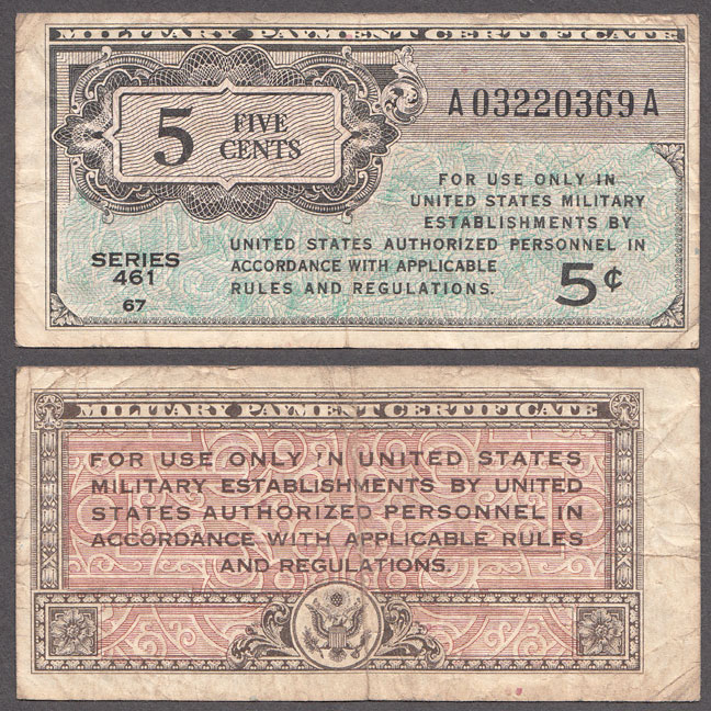 Series 461 5 Cent US militaty payment certificates