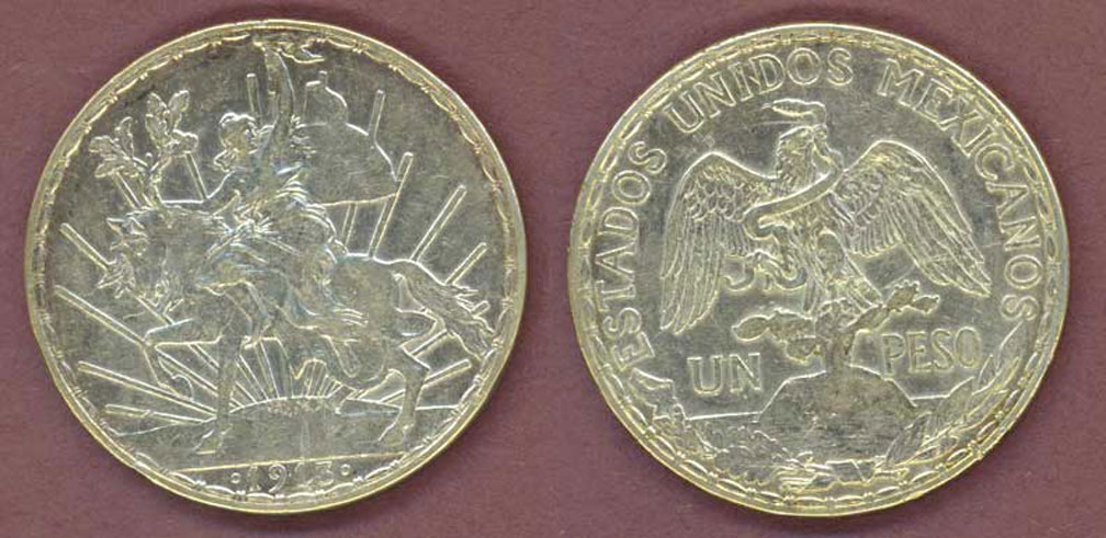 1913 1 peso Collectable Mexican silver pesos Caballito