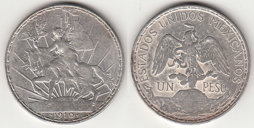 1910 1 Peso Mexico Caballito