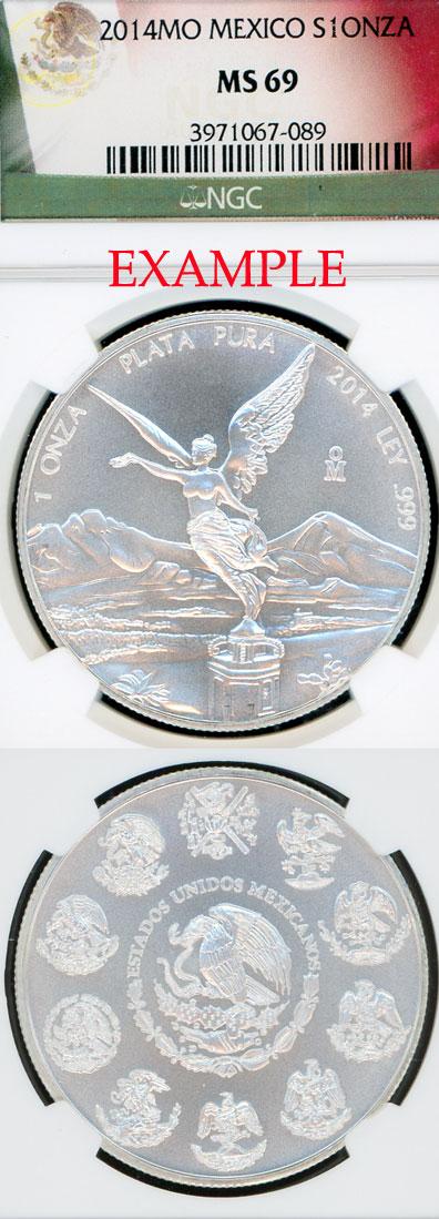 2014 1oz Mexico i ounce silver libertad NGC MS 69