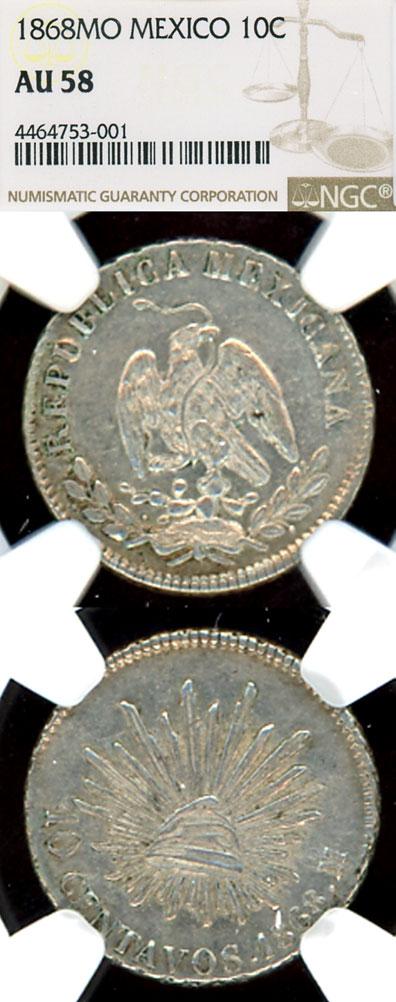 1868 Mo 10 Centavo Collectable Mexican silver coins