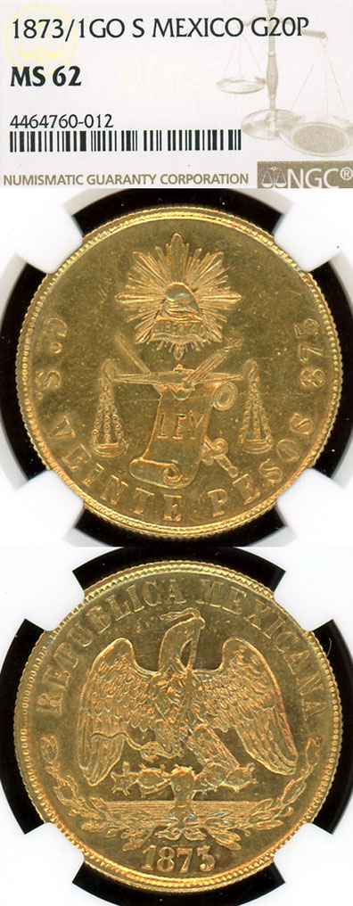 1873/1 GO S 20 Peso Gold Collectable mexican gold coins NGC MS 62