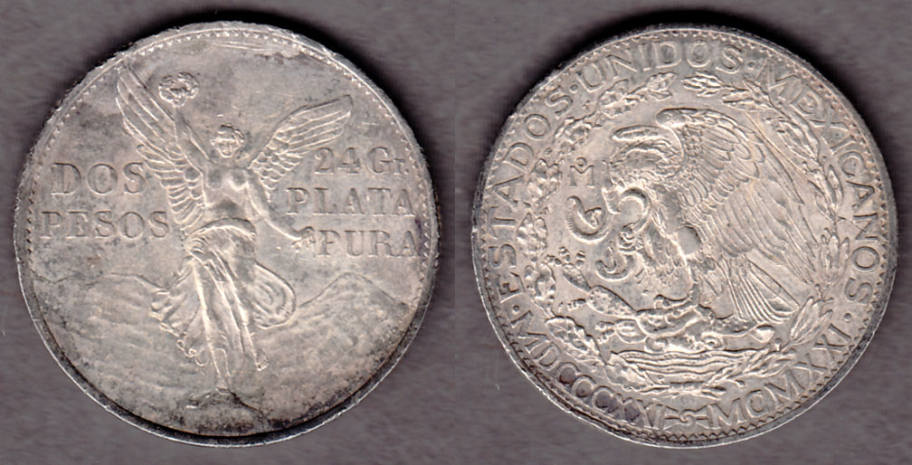 1921 Two Peso Collectable mexican silver coins