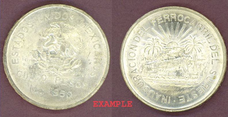 "1950 Five Peso ""Railroad"" Mexico collectable silver coins"