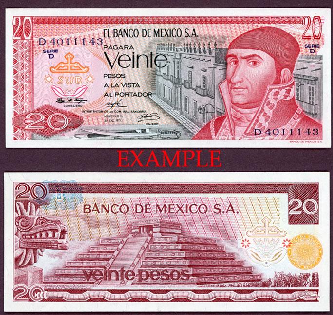 1972 20 Pesos collectable paper money Mexico
